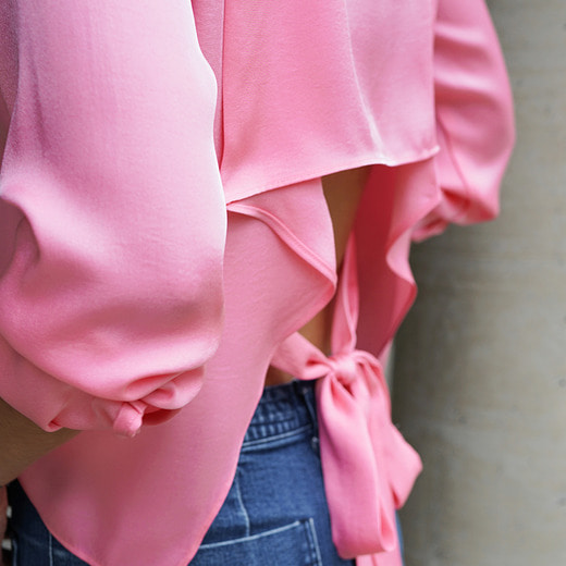 [케임어폰] Back Tied Silky Shirts_Pink