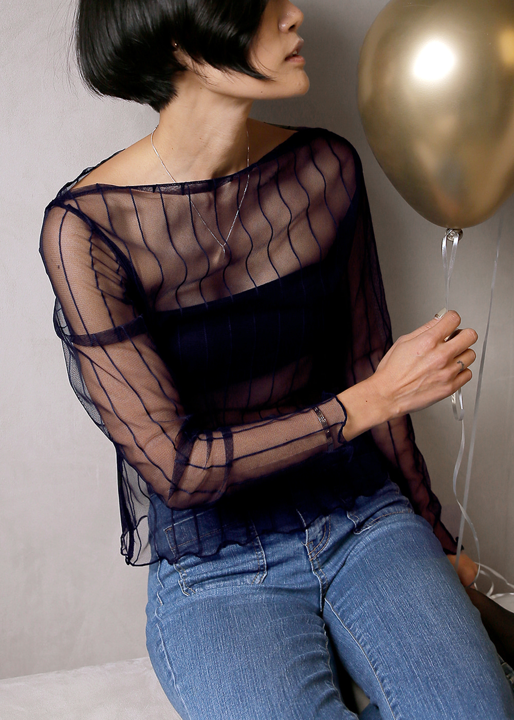 Sheer Boatneck Top