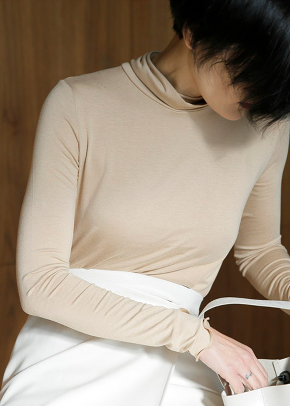 Super Soft Cotton Turtleneck Milky White/Beige
