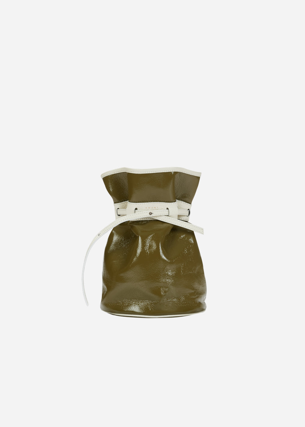 Celeb Patent Bucket Bag Khaki