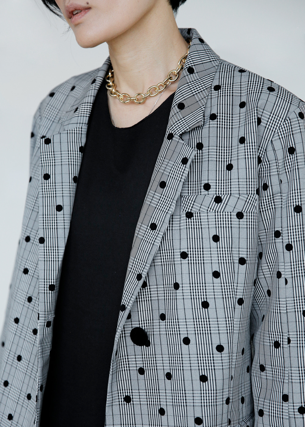 Oversized Light Blazer-Dots in Check