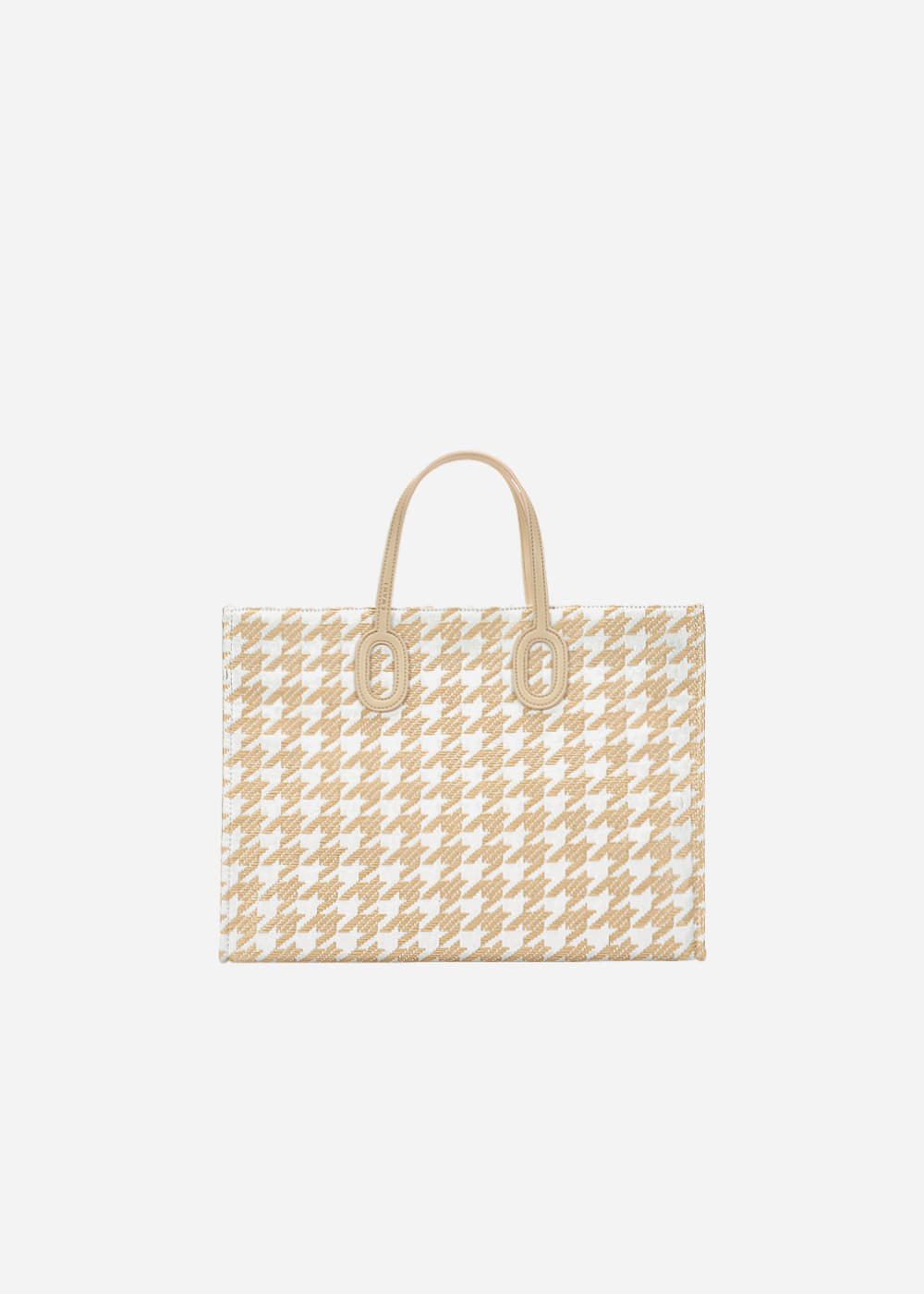 O Handle Houndstooth Beige