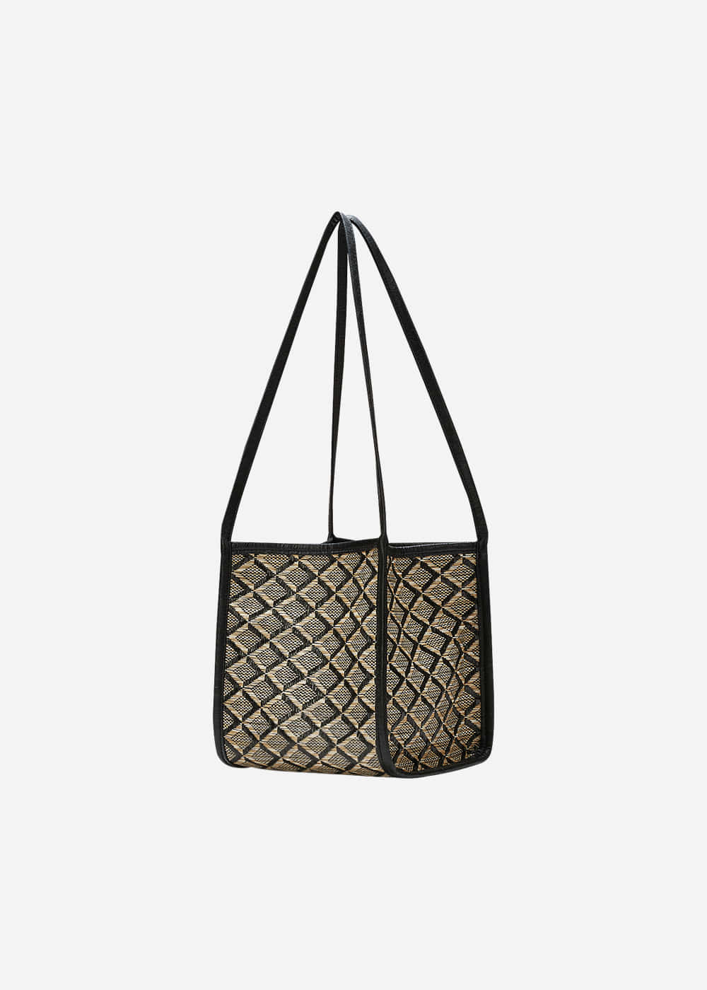 Rattan Shoulder Tote Black